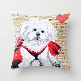Maltese Puppy Love Music Throw Pillow