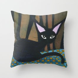 Corpus Christi Whimsical Cat Throw Pillow