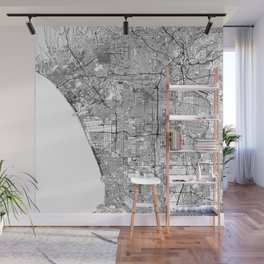 Los Angeles White Map Wall Mural