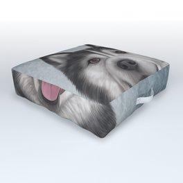 Drawing Dog Alaskan Malamute Outdoor Floor Cushion