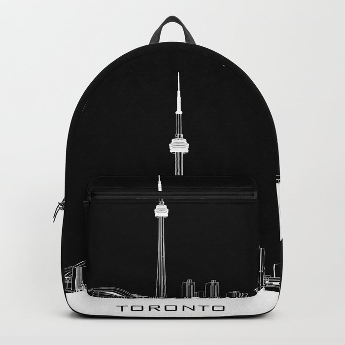 Toronto Skyline - White ground / Black Background Backpack