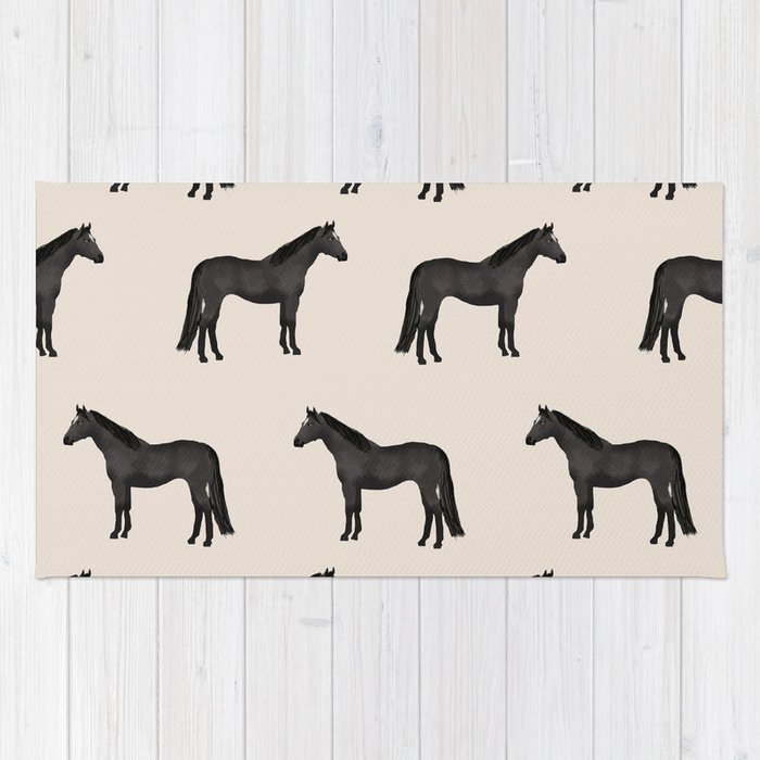 Black horse farm animal horses gifts Rug
