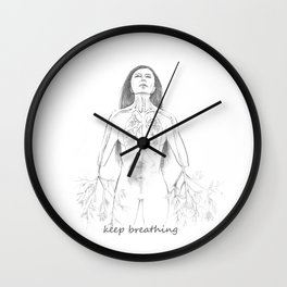 Keep breathing Wall Clock