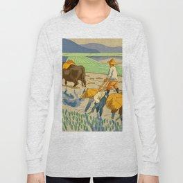 Asano Takeji Rice Transplantation Vintage Japanese Woodblock Print Asian Farmers Sedge Hat Long Sleeve T-shirt