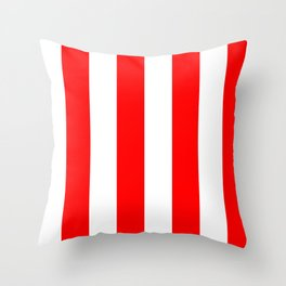Large Red and White Candy Cane Vertical Stripes Throw Pillow