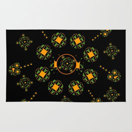 Orange and Green Spaces 115 Rug