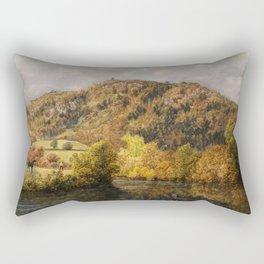 Autumn Gold Hills and Foliage Landscape Painting by John Brett Rectangular Pillow