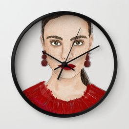 Red lip Red heart Red lady Wall Clock