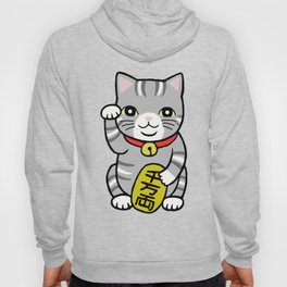 Japanese Good Luck Grey Gray Tabby Cat Maneki Neko  Hoody