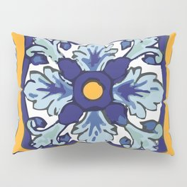 Talavera Mexican tile inspired bold design in blues and yellows Pillow Sham
