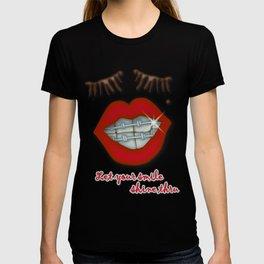 Shiny Braces, Red Lips, Mole, and Thick Eyelashes T-shirt