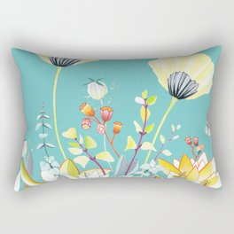 Yellow poppy - Marine blue Rectangular Pillow