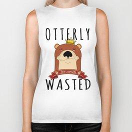 Otter Otterly Wasted Marten Wine Beer Drinking Team Mammal Biker Tank