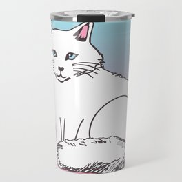White Cat Pink & Blue Pastel Travel Mug