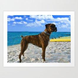 BOXER DOG SURFER BEACH BUM AND FRIEND Art Print