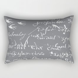 French Script on Steel Gray Rectangular Pillow