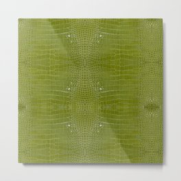 Lime Green Alligator Leather Print  Metal Print