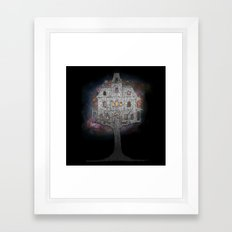 Cosmos Tree House B/W Framed Art Print