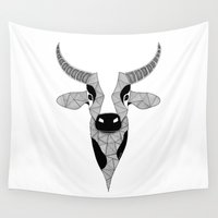 cow Wall Tapestries featuring Cow by Art & Be