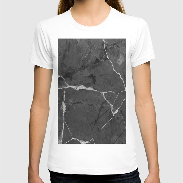 Black minimal marble T-shirt