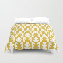Art Deco Jagged Edge Pattern Mustard Yellow Duvet Cover