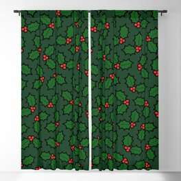 Holly Leaves and Berries Pattern in Dark Green Blackout Curtain
