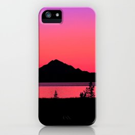 Pink Sunset Silhouette - Mt. Redoubt, Alaska iPhone Case