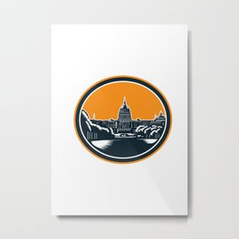 United States Capitol Building Woodcut Retro Metal Print