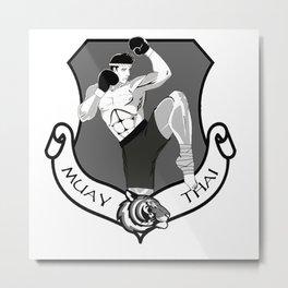 Muay Thai Crest Metal Print