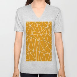 Geometric Cobweb (White & Orange Pattern) Unisex V-Neck