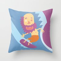 surf Throw Pillows featuring Surf! by DooDoo