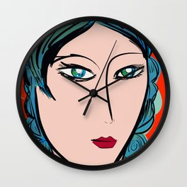 Red Blue Girl Fauve and Pop Wall Clock