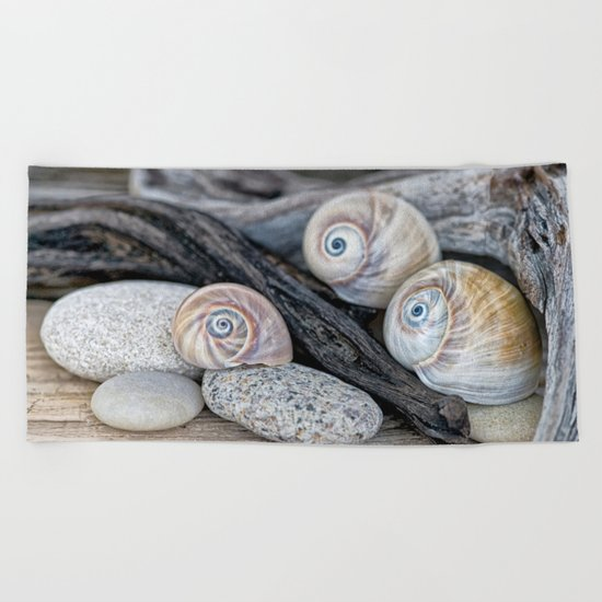 Shark's eye shells and driftwood Beach Towel