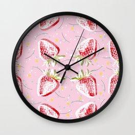 Strawberries Fiesta Pattern Wall Clock