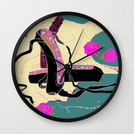 Black Ballet Slippers and Beige Dress, Roses and Pearls Wall Clock