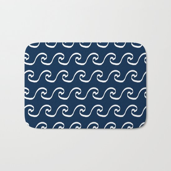 Nautical waves cute simple minimal basic ocean pattern navy nursery gender nuetral Bath Mat