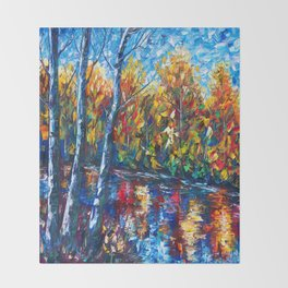 Dreaming Forest with Palette Knife Throw Blanket
