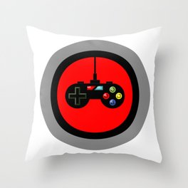 Game Controller in Red Target Throw Pillow