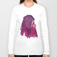 the walking dead Long Sleeve T-shirts featuring THE WALKING DEAD - Michonne by Mike Wrobel