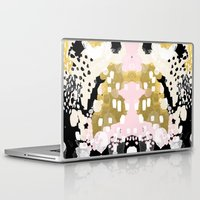 coachella Laptop & iPad Skins featuring Simone - abstract painting gold foil trendy hipster pastel pink modern trendy colors decor college by CharlotteWinter