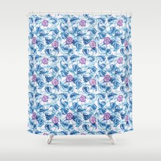 Ipomea Flower_ Morning Glory Floral Pattern Shower Curtain