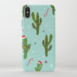 Cactus With Colorful Light Bulb. Merry Christmas and Happy New Year Seamless Pattern iPhone Case