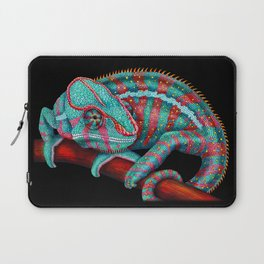 Panther Chameleon Turquoise Blue & Coral Red Laptop Sleeve