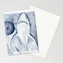 Great White Shark Compass Map Blue Stationery Cards
