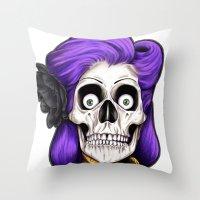 rockabilly Throw Pillows featuring Rockabilly Skull by Mark Matlock