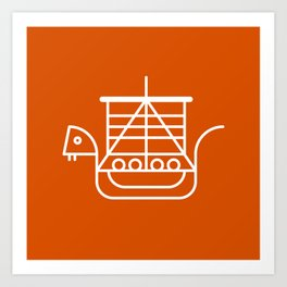 Viking Dragon Ship. Scandinavian pattern. Orange. Art Print