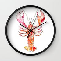 lobster Wall Clocks featuring Lobster by fossilized
