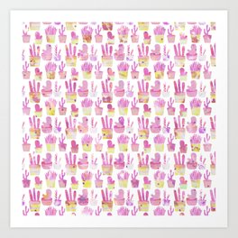 Girly blush pink coral watercolor hand painted cactus floral pattern Art Print