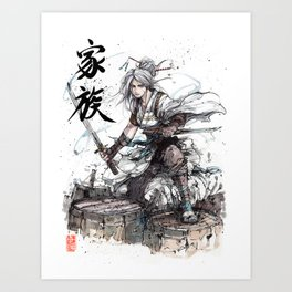 Samurai Girl with Japanese Calligraphy - Family - Ciri Parody Art Print