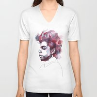 prince V-neck T-shirts featuring Prince by Allison Kunath